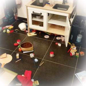 Küche im Chaos