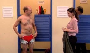 man in woman changing room