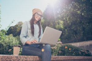hipster girl on laptop