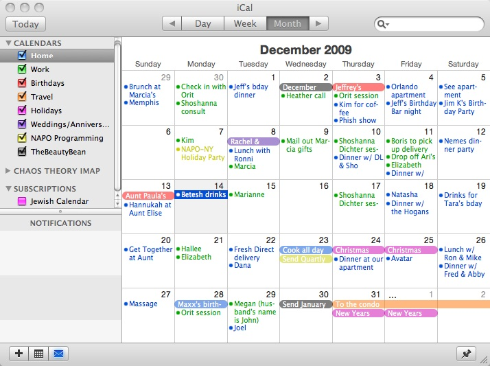 My Calendar is Color Coded