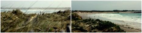 Derrière les dunes, des surfeurs en masse.