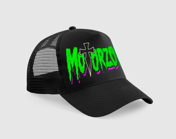 Gorra negra con bordado del logotipo Motorzombis