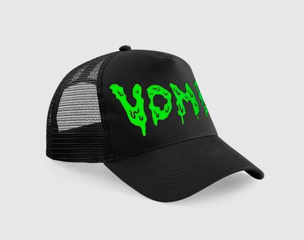 Gorra negra con bordado del logotipo Vomit