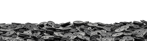 Weight plates pile / 3D render of hundreds of heavy weight plate
