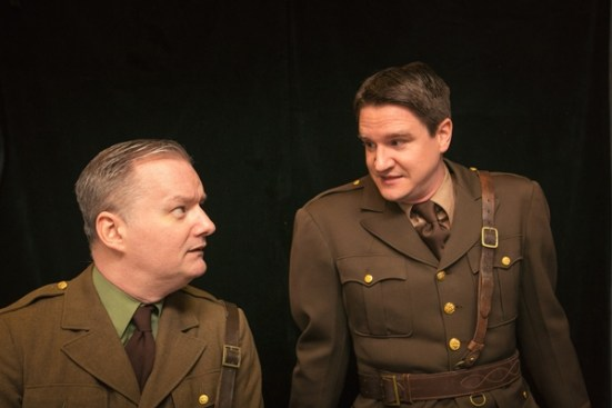 """Eric Carl as Osborne and Gus Allen as Stanhope in """"Journey's End."""" Photo via DeepDishTheater.org."""