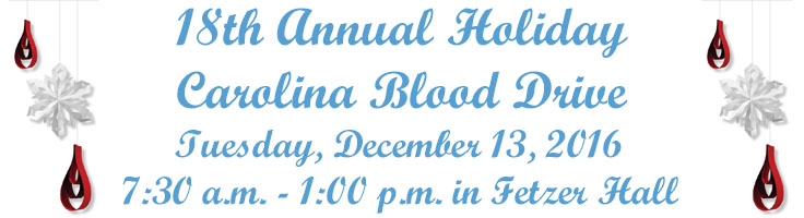 UNC Hosting 18th Annual Holiday Blood Drive
