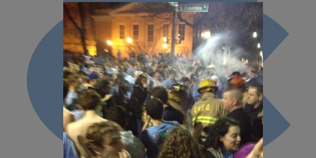 UNC Students Storm Franklin St. Following Win Over Rival Duke