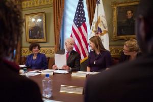 Vice President Joe Biden talks with Katie Akin; Photo by David Lienemann