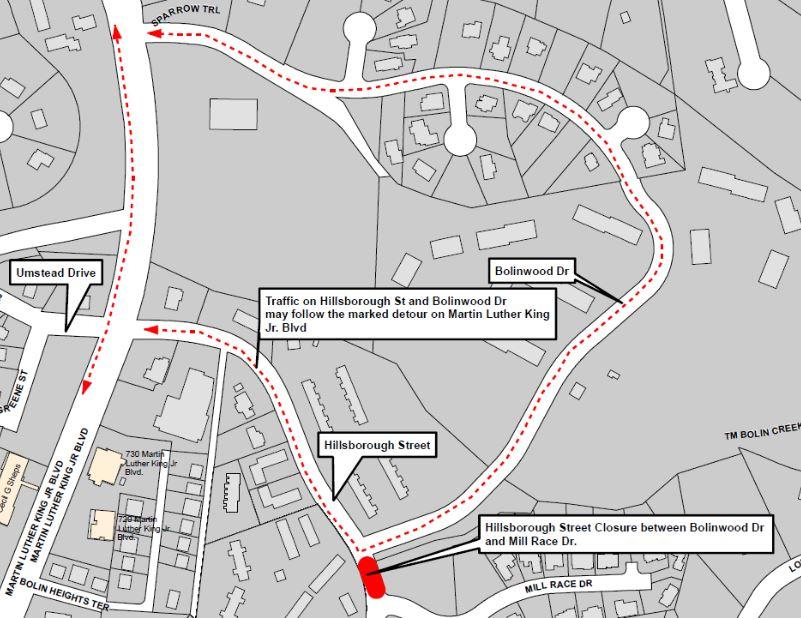 Portion of Hillsborough Street to Close Through Friday