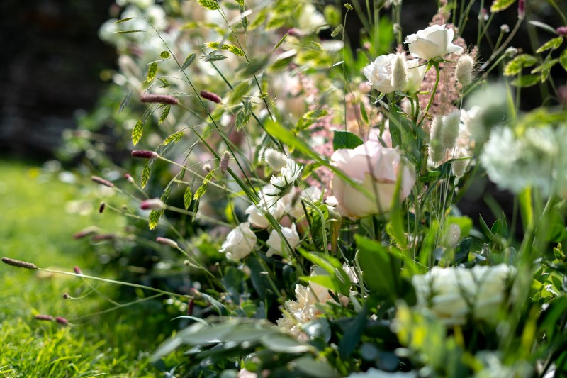 Wedding flowers for outdoor ceremony in a natural style.