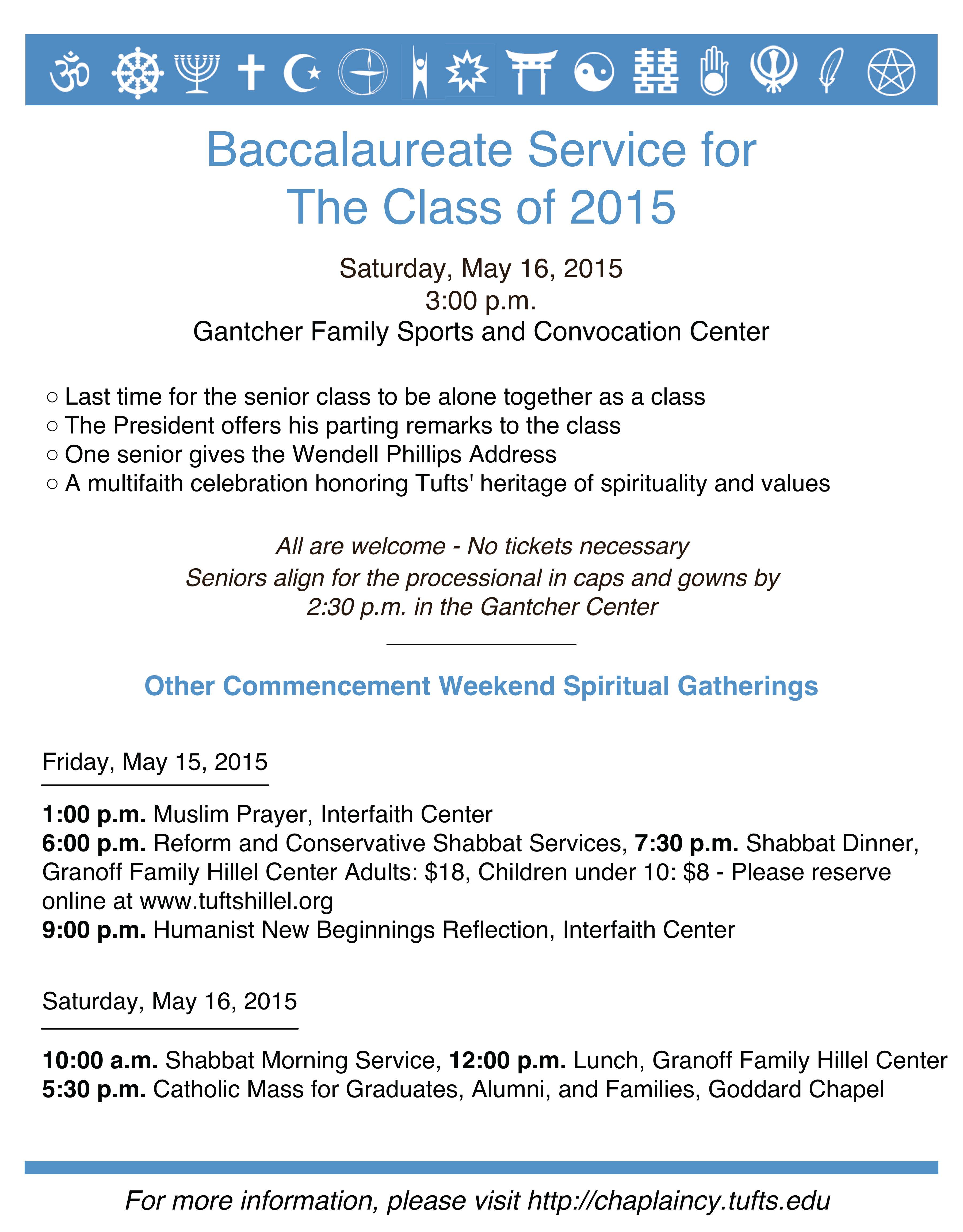 Baccalaureate Service For The Class Of 2015 Tufts