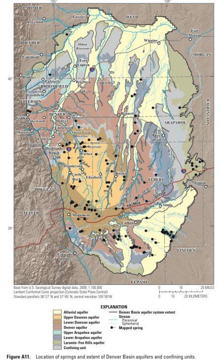 Denver Basin Aquifers confining unit sands and springs via the USGS