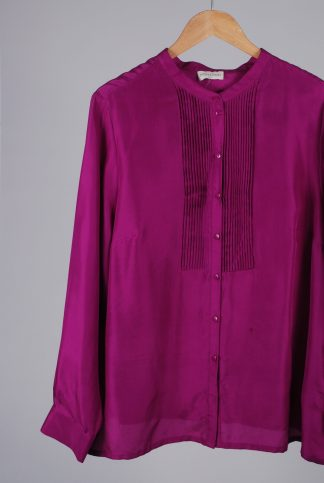 Monsoon Purple Silk Blouse - Size L - Front Detail