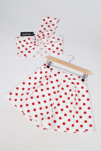 Boohoo Red & White Polka Dot Co-Ord Set - Size 10 - Front