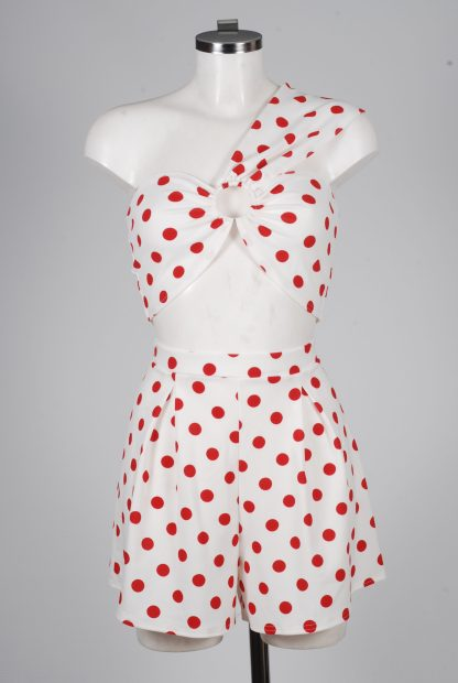 Boohoo Red & White Polka Dot Co-Ord Set - Size 10 - Mannequin