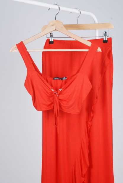 Boohoo Red Jersey Co-Ord Set - Size 10 - Front Detail