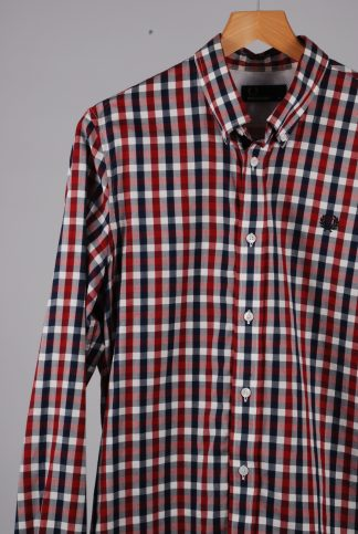 Fred Perry Red Check Shirt - Size M - Front Detail