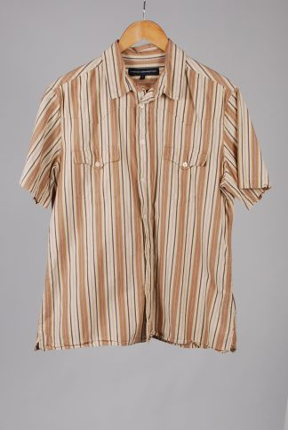 French Connection Brown Striped Shirt - Size L - Front
