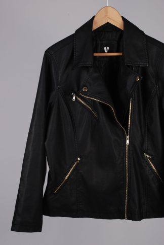 Very Black Biker Style Jacket - Size 20 - Front Detail