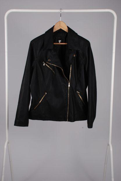 Very Black Biker Style Jacket - Size 20 - Front