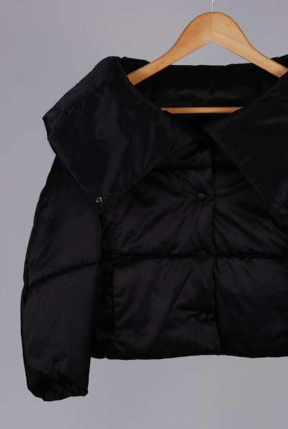 Zara Black Cropped Quilted Jacket - Size S - Front Detail