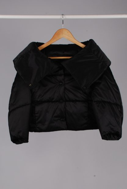 Zara Black Cropped Quilted Jacket - Size S - Front
