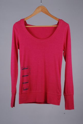 Elle Sport Pink Hooded Top - Size 12 - Front