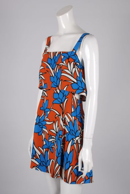 Topshop Tiered Floral Mini Dress - Size 10 - Side