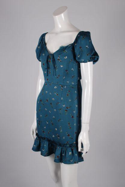 Boohoo Teal Floral Mini Dress - Size S - Side