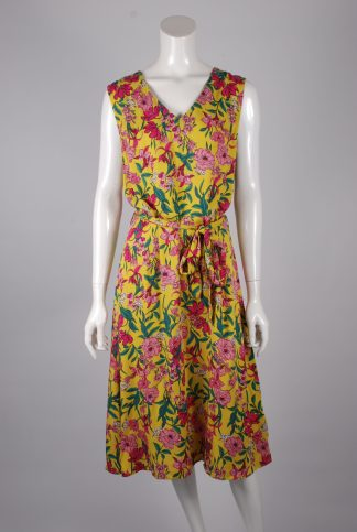 F+F Yellow & Pink Floral Dress - Size 14 - Front