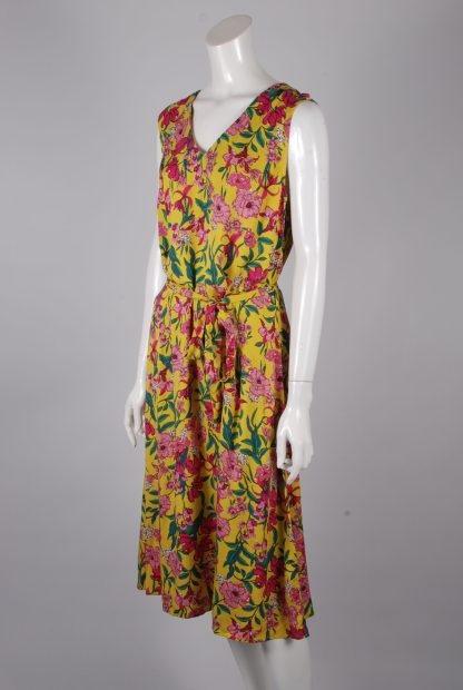 F+F Yellow & Pink Floral Dress - Size 14 - Side