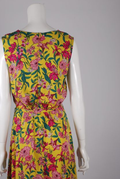 F+F Yellow & Pink Floral Dress - Size 14 - Back Detail