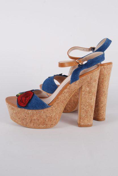 Denim Floral Strappy Heels - Size 5 - Side