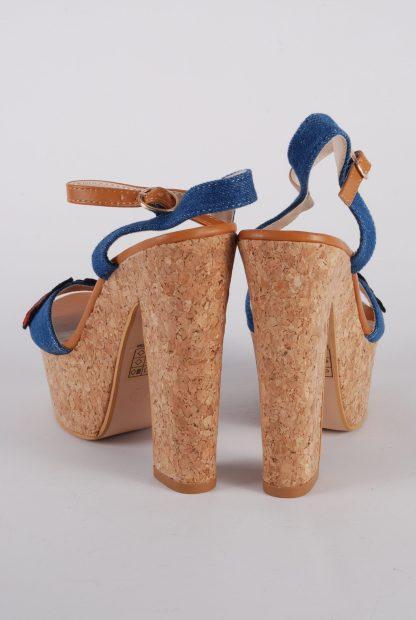 Denim Floral Strappy Heels - Size 5 - Back