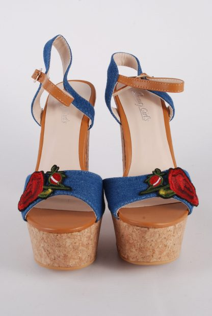 Denim Floral Strappy Heels - Size 5 - Front Detail
