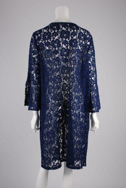 Blue Lace Peplum Sleeve Jacket - Size 22 - Back
