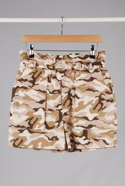 Missguided Pink & Brown Camo Print Shorts - Size 10 - Front