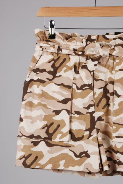 Missguided Pink & Brown Camo Print Shorts - Size 10 - Front Detail
