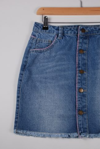 Boohoo Button Front Denim Skirt - Size 10 - Front Detail