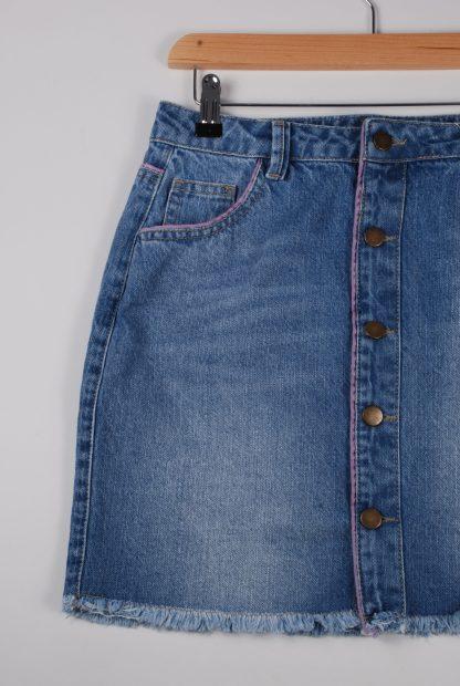 Boohoo Button Front Denim Skirt - Size 10 - Front Detail