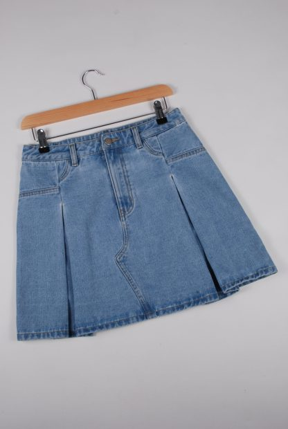 Blue Denim Pleated Mini Skirt - Size 10 - Front