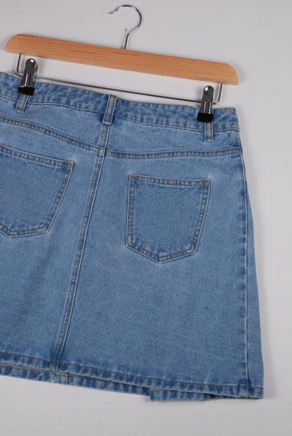 Blue Denim Pleated Mini Skirt - Size 10 - Back Detail