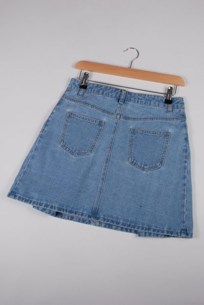 Blue Denim Pleated Mini Skirt - Size 10 - Back