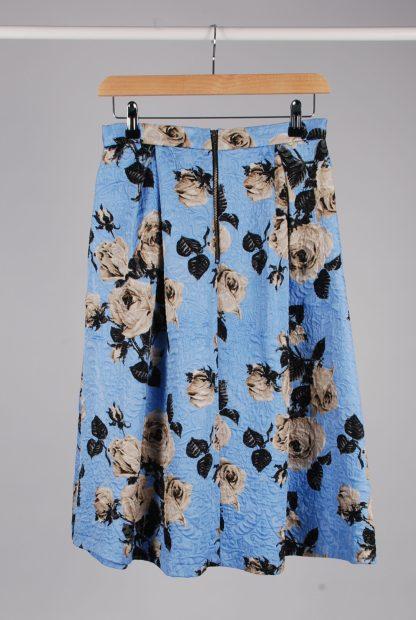 Topshop Blue Floral Jacquard Midi Skirt - Size 10 - Back