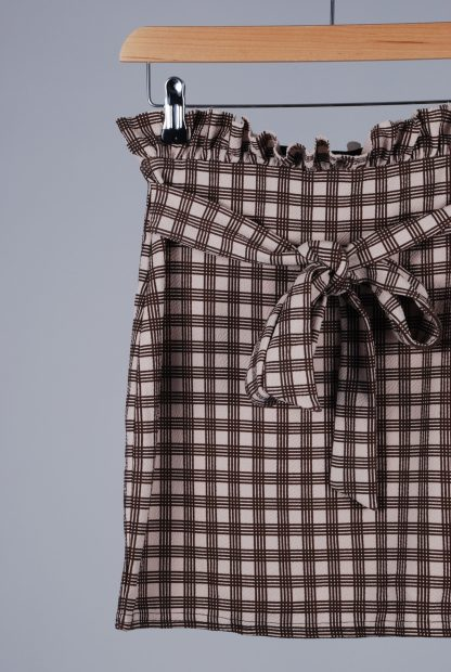 Boohoo Brown Check Mini Skirt - Size 10 - Front Detail
