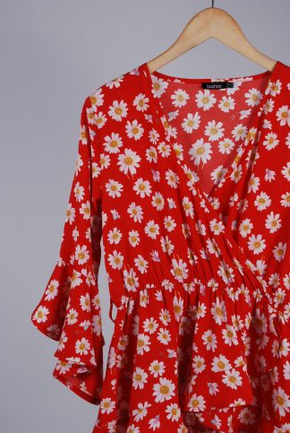 Boohoo Red Floral Wrap Top - Size 10 - Front Detail