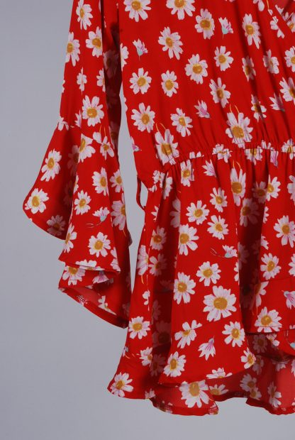Boohoo Red Floral Wrap Top - Size 10 - Front Hem