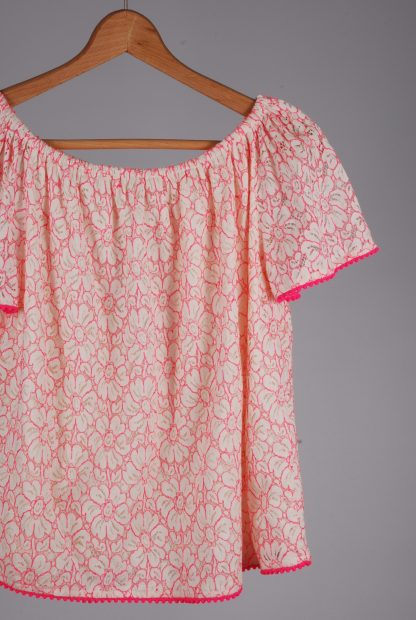 TU White & Pink Lace Top - Size 8 - Front Detail