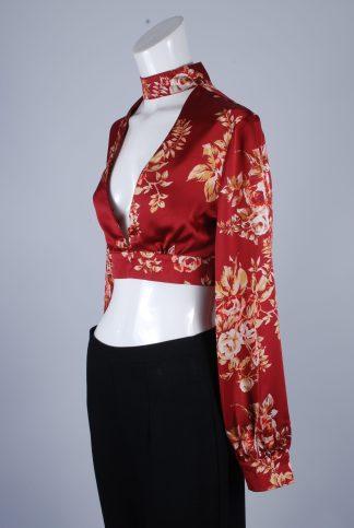 MissPap Floral Satin Crop Top - Size 8 - Side