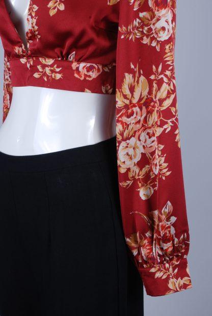 MissPap Floral Satin Crop Top - Size 8 - Side Hem